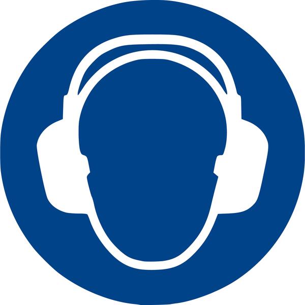 Gehörschutz benutzen Gebotszeichen M003 Aufkleber Ø 20 cm nach ISO7010