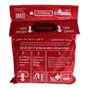 Löschdecke 1,60 x 1,80 m in Tasche zum Aufhängen  mit Grifftaschen zur sicheren