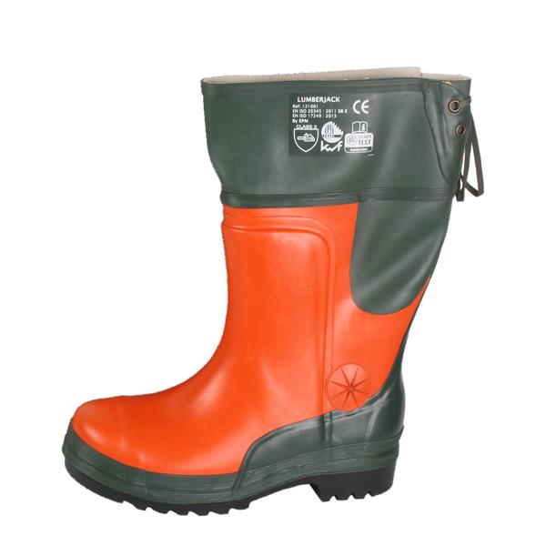 Schnittschutzstiefel Forststiefel grün-orange Größe 41